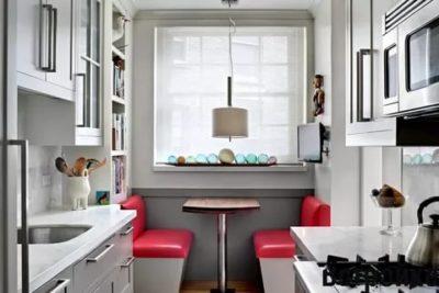 как обустроить узкую кухню
