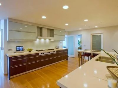 как расположить точечные светильники на кухне