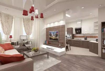 как объединить гостиную и кухню