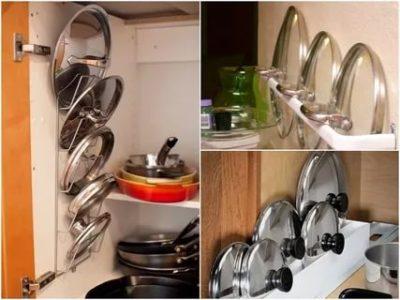 как хранить крышки от кастрюль на кухне