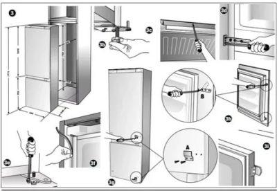 как установить встраиваемый холодильник
